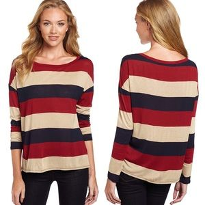Soft Joie Bethe Top in Red Dahlia Stripe